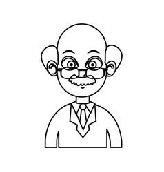 Portrait doctor man character line vector