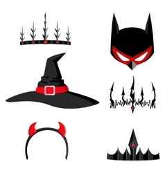 Set of halloween headdresses vector