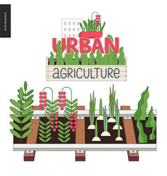 Urban farming and gardening on the rails vector