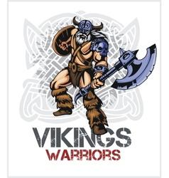 Viking norseman mascot cartoon with ax and shield vector image