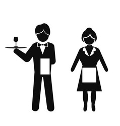 waiter and waitress icon vector image