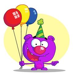 Happy bear in party hat with balloons vector