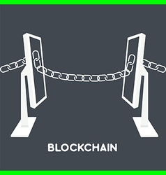 Blockchain computer screen chain vector