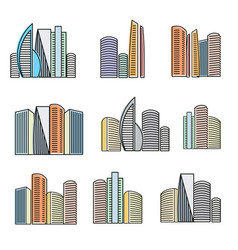 Isolated colorful high buildings icons collection vector