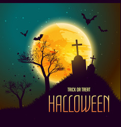 Halloween background with grave in from of moon vector