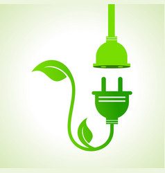 ecology icon with green leavesplug and holder vector image