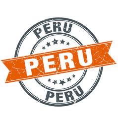 Peru red round grunge vintage ribbon stamp vector