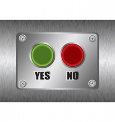 Yes no metal button vector