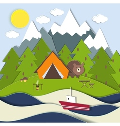 Picnic on the shore of a mountain lake vector