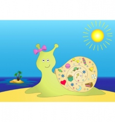 Snail with gifts on island vector