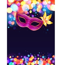 Pink carnival mask and bokeh lights dark blue vector