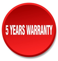 5 years warranty red round flat isolated push vector image vector image