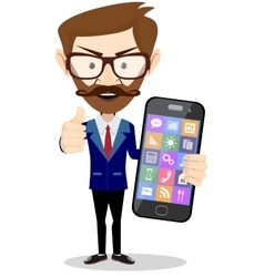 Flat cartoon hipster character - businessman with vector