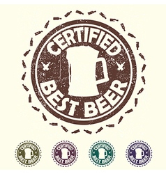 Beer label stamp with text certified best beer vector