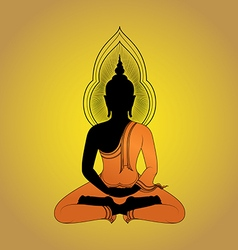 Buddha silhouette against gold background vector