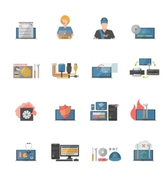 Computer repair icons set vector