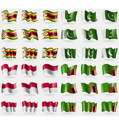 Zimbabwe pakistan indonesia zambia set of 36 flags vector