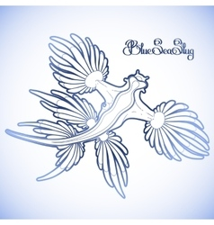 Graphic blue sea slug vector