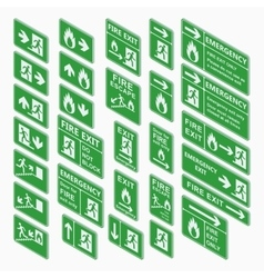 Exit isometric sign set isolated vector image