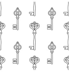Black and white seamless pattern with vintage keys vector