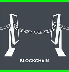 blockchain computer screen chain vector image