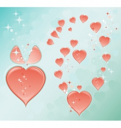blue romantic background with hearts vector image vector image