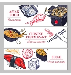 Chinese Food Horizontal Banners vector image