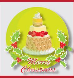 Christmas cake with butchers broom vector