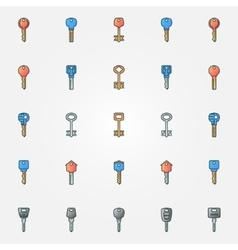 Colorful keys icons vector image