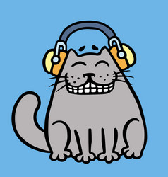 Cute grey cat in headphones vector