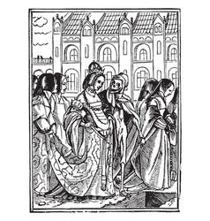 Dance of death the queen walking with skeleton in vector