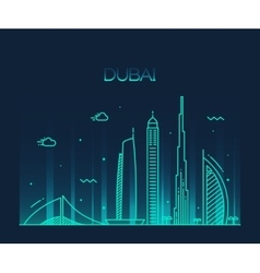 Dubai city skyline trendy line art vector