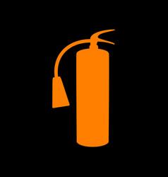 Fire extinguisher sign orange icon on black vector