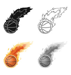 fireballbasketball single icon in cartoon style vector image