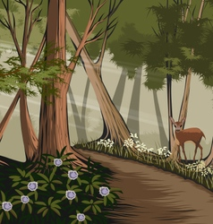 Forest and deer vector