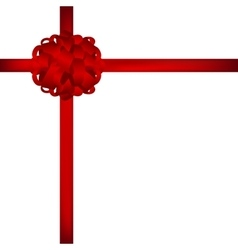 Gift in a box with red bow on white background vector image
