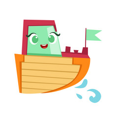 green red and orange boat cute girly toy wooden vector image vector image