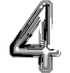 Grunge font number 4 vector