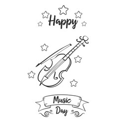Hand draw style for music day card vector