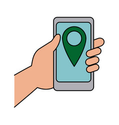 Hand holding smartphone with pin map app vector