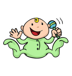 happy cute baby playing with rattle vector image vector image