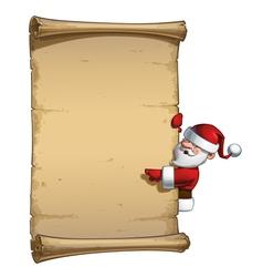Happy santa scroll blank label pointing vector