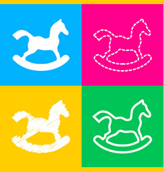 Horse toy sign four styles of icon on four color vector
