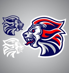 lion head blue red logo vector image vector image