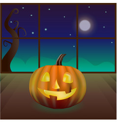 Magic pumpkin in the room vector