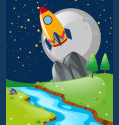 nature scene with spaceship flying in the sky vector image