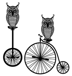 owls with old bicycle vector image vector image