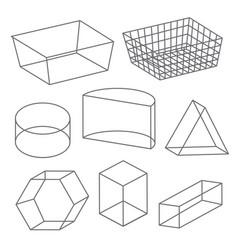 Polygon wireframe geometric shape line icon vector