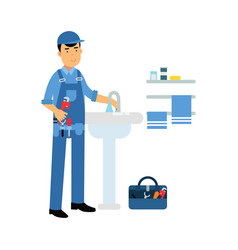proffesional plumber character with monkey wrench vector image vector image