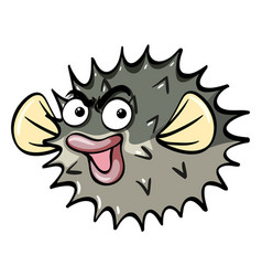 Pufferfish with serious face vector